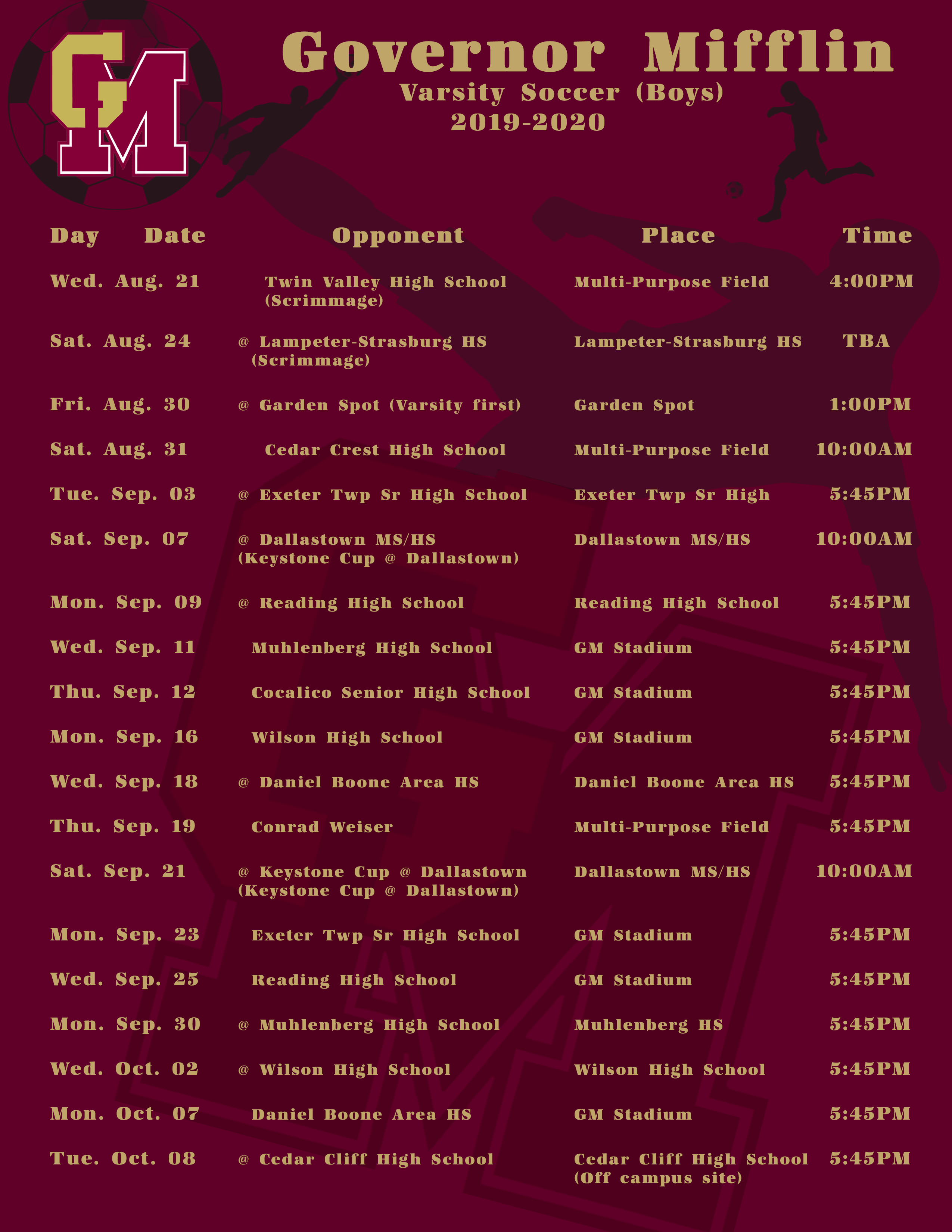 Boys Varsity Schedule Fall 2019