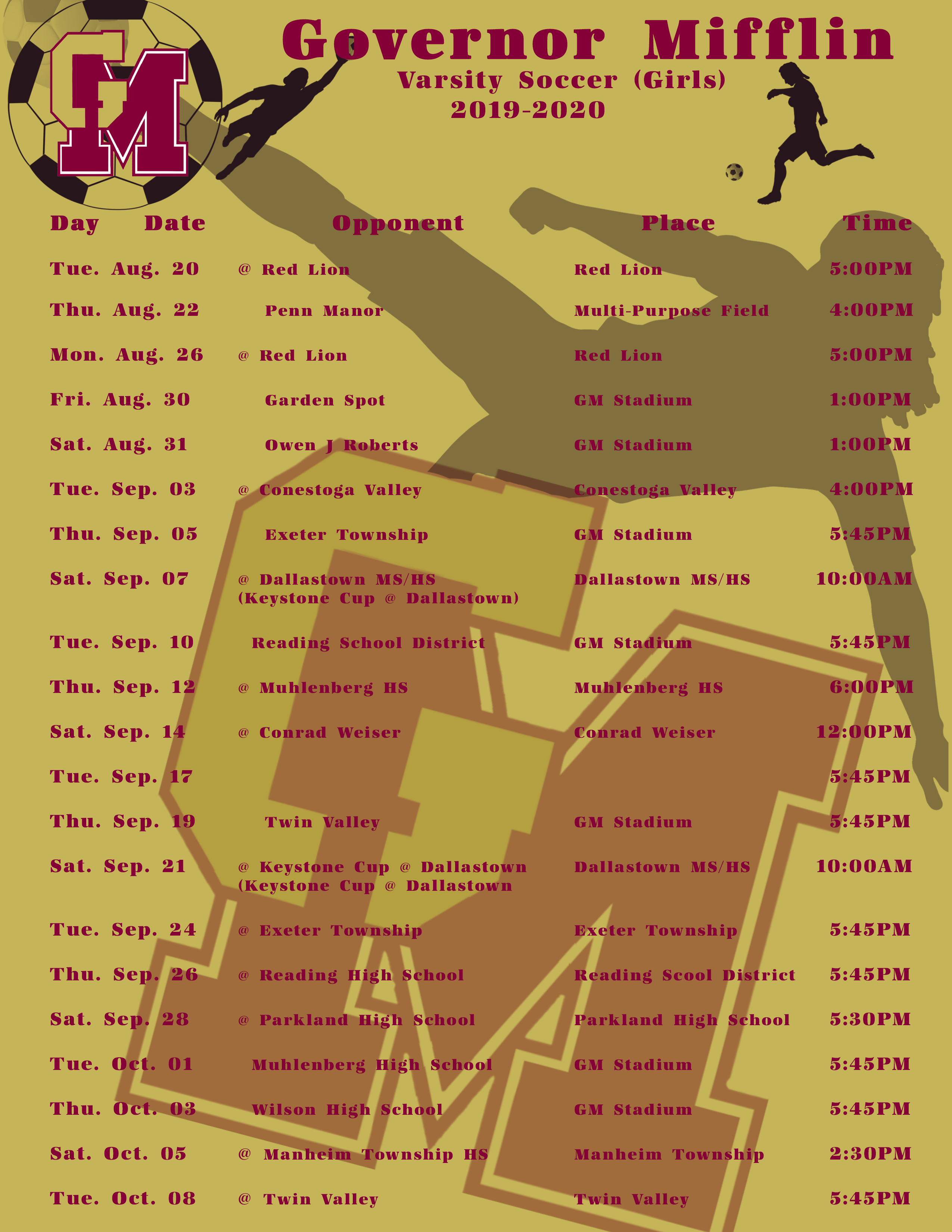Girls Varsity Schedule Fall 2019